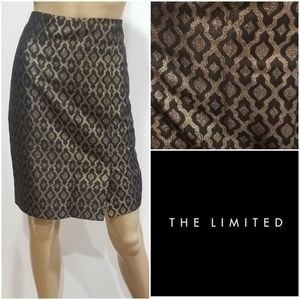 The limited jacquard brocade metallic gold skirt